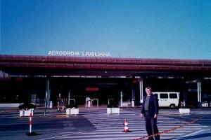 L'entrée de l'aéroport de Ljubljana