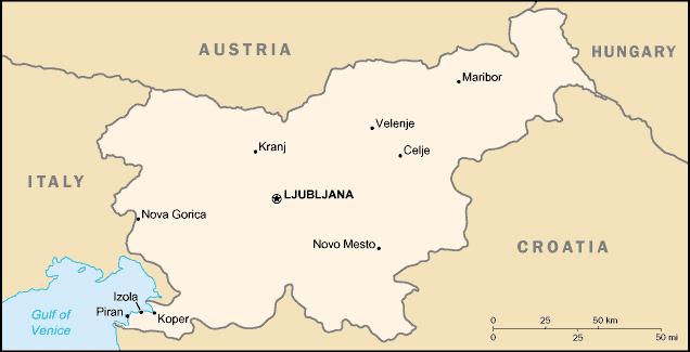 les pays limitrophes de la Slovenie