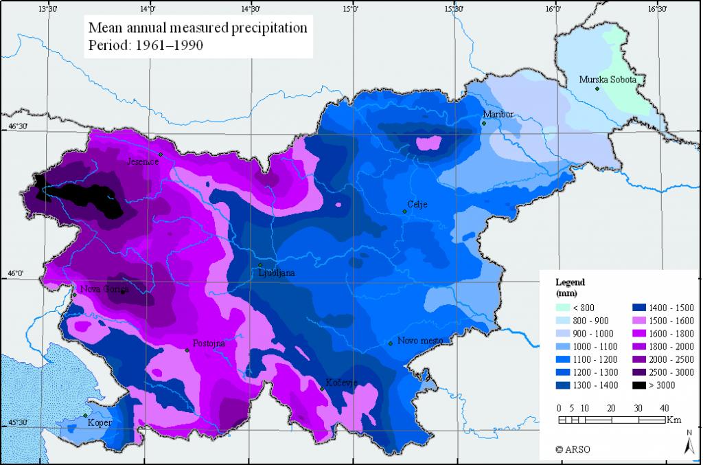 les précipitationbs annuelles
