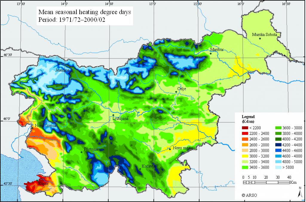 la température en Slovénie