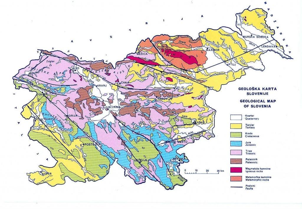 carte géologique slovénie